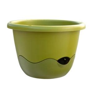 Zelený samozavlažovací květináč vhodný k zavěšení Plastia Mareta 30