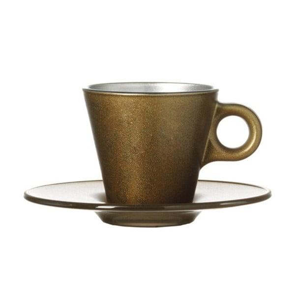 Zlatý metalický hrnek na espresso měnící barvu LEONARDO Ooh! Magico