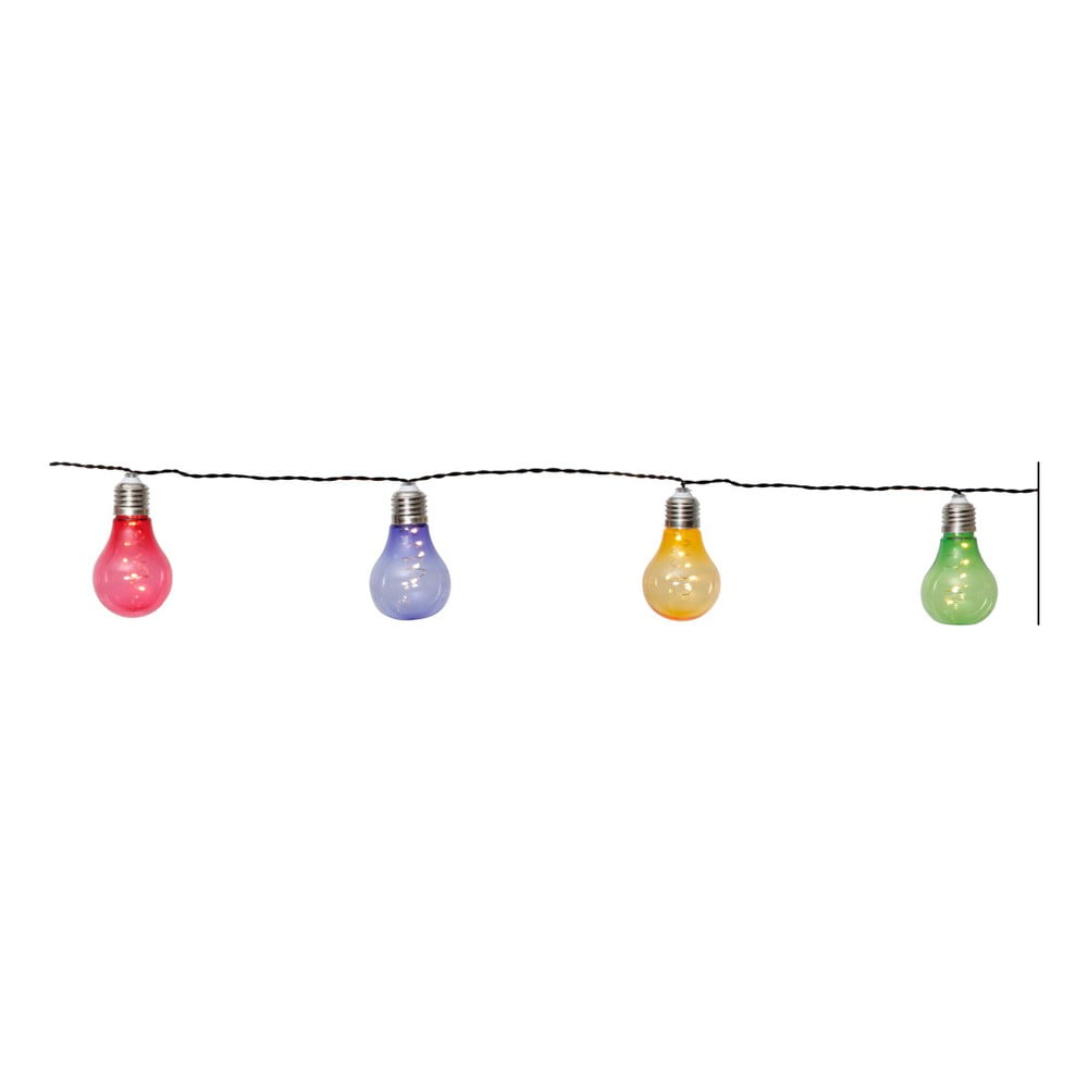 Barevný solární světelný LED řetěz vhodný do exteriéru Best Season Glow, 10 světýlek