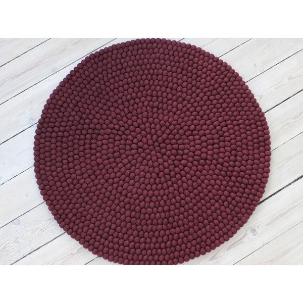 Ciemnowiśniowy wełniany dywan kulkowy Wooldot Ball Rugs, ⌀ 140 cm