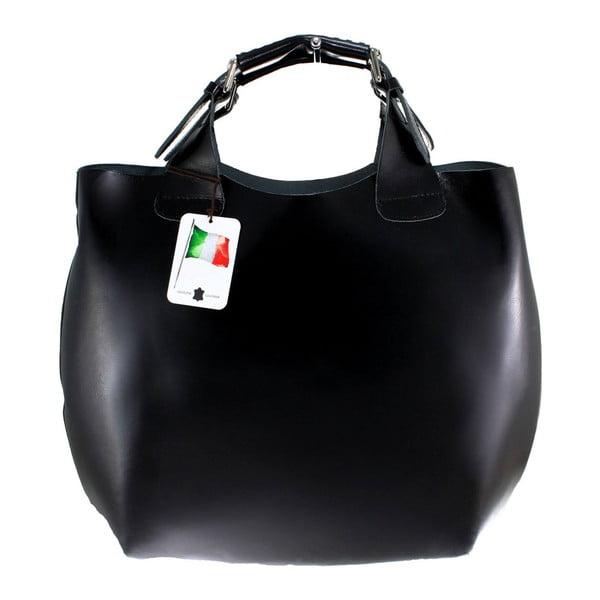 Černá kožená taška Chicca Borse Sofia