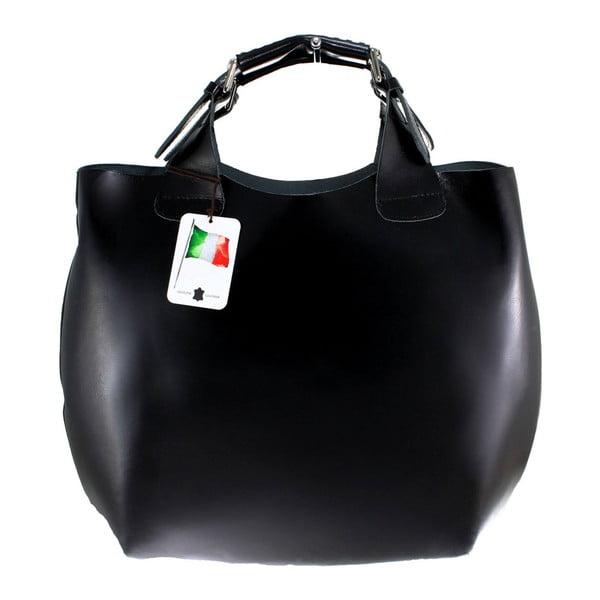 Černá kožená kabelka Chicca Borse Sofia