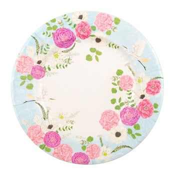 Set 8 farfurii din hârtie GiviItalia Secret Garden, ⌀ 27 cm