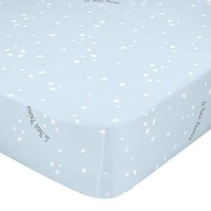 Světle modré elastické bavlněné prostěradlo Mr. Fox Son Monde, 90 x 200 cm