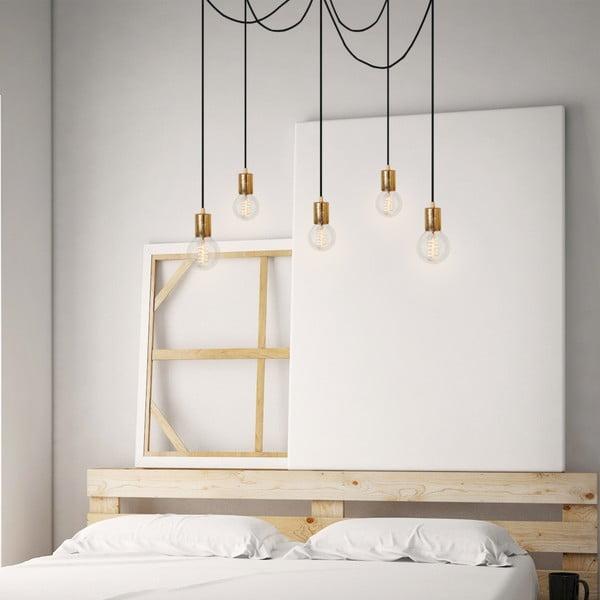Závěsné svítidlo s 5 bílými kabely a zlatou objímkou Bulb Attack Cero