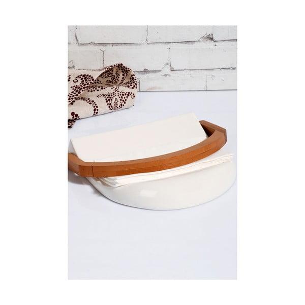 Kosova Joey porcelán és bambusz szalvétatartó, 21,5 x 20 x 4 cm