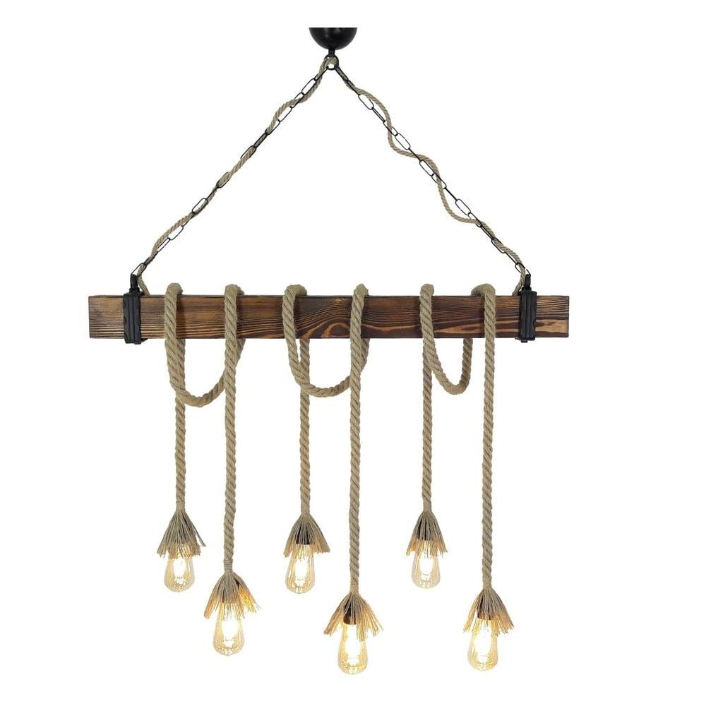 Dřevěné stropní závěsné svítidlo Halat, 6 žárovek