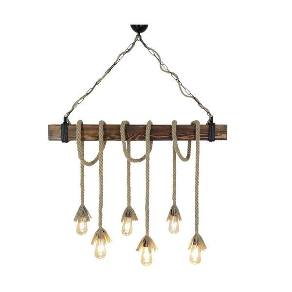 Dřevěné stropní závěsné svítidlo Halat, 6žárovek