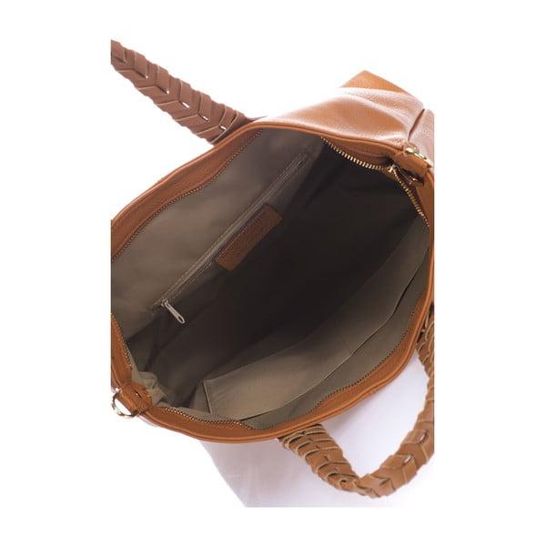 Koňakově hnědá kožená kabelka Lisa Minardi Elisa