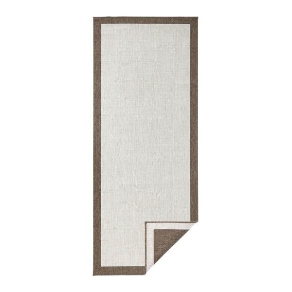 Světle hnědý oboustranný běhoun vhodný i na ven bougari Panama, 80x250 cm