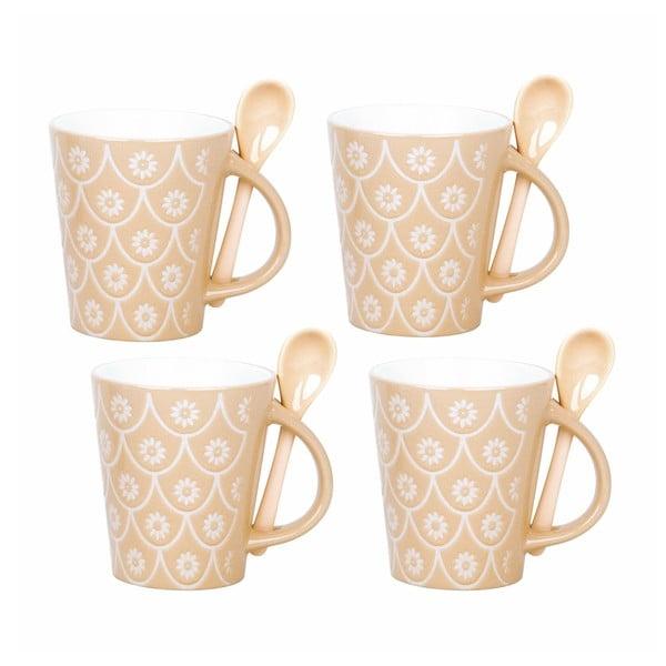 Sada 4 šálků s lžičkami Mugs, přírodní