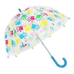 Dětský transparentní deštník s modrou rukojetí Hands Up