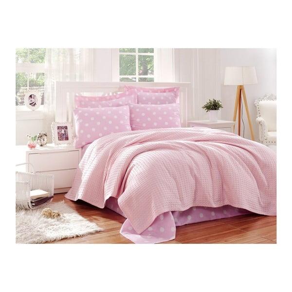 Paraga rózsaszín hálószobai szett egyszemélyes ágyhoz, 160 x 240 cm - Unknown
