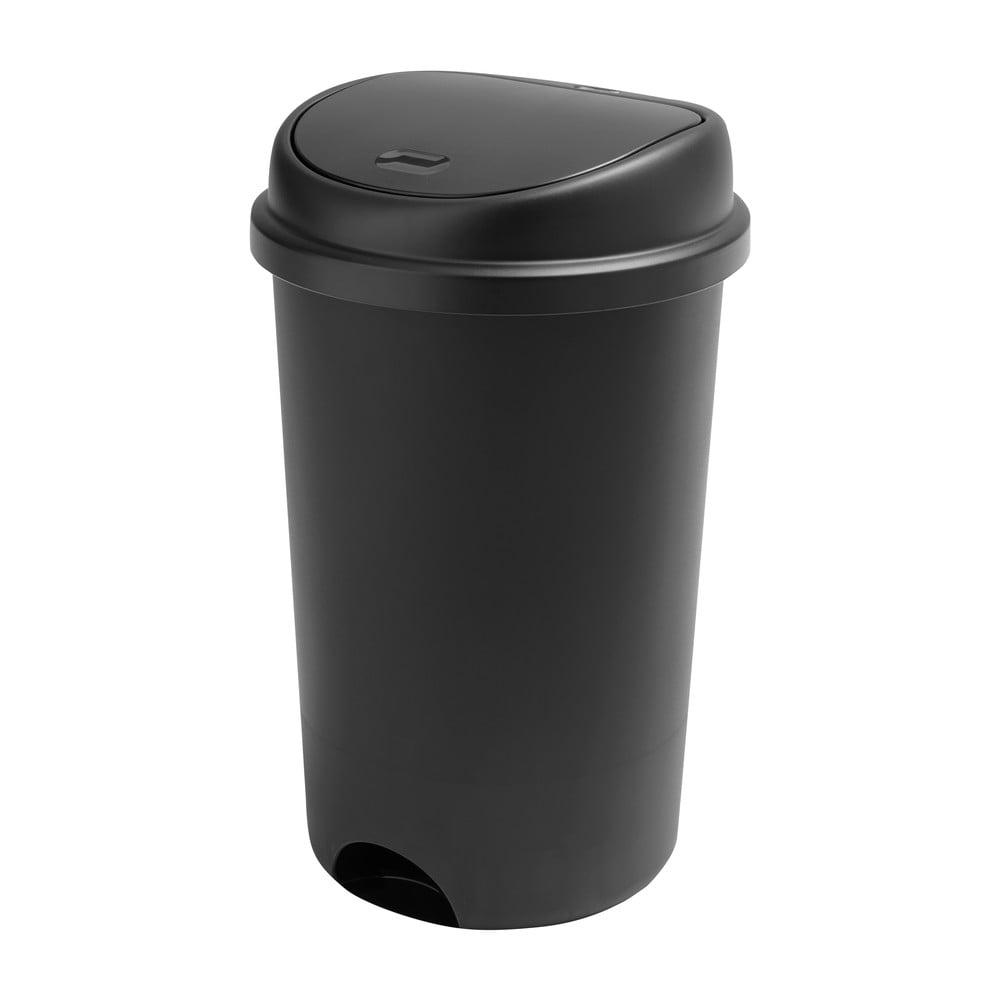 Černý odpadkový koš s vycvakávacím víkem Addis, výška 64,5 cm