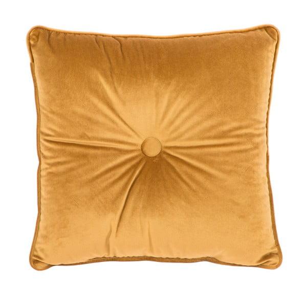 Ciemnożółta poduszka Tiseco Home Studio Velvet Button, 45x45 cm