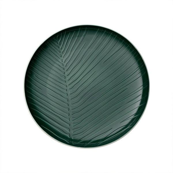Bílo-zelený porcelánový talíř Villeroy & Boch Leaf, ⌀ 24 cm