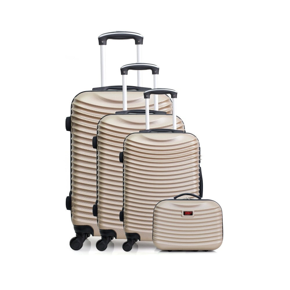 Sada 4 cestovních kufrů ve zlatobéžové barvě na kolečkách Hero Vanily