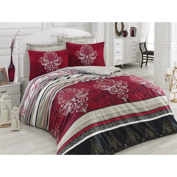 Lenjerie de pat cu cearșaf Azra Claret Red, 200 x 220 cm