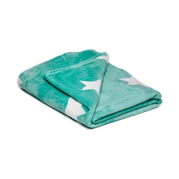 Pătură din micropluș My House Stars, 150 x 200 cm, verde-alb