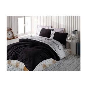 Lenjerie din bumbac satinat pentru pat dublu Black, 200x220cm