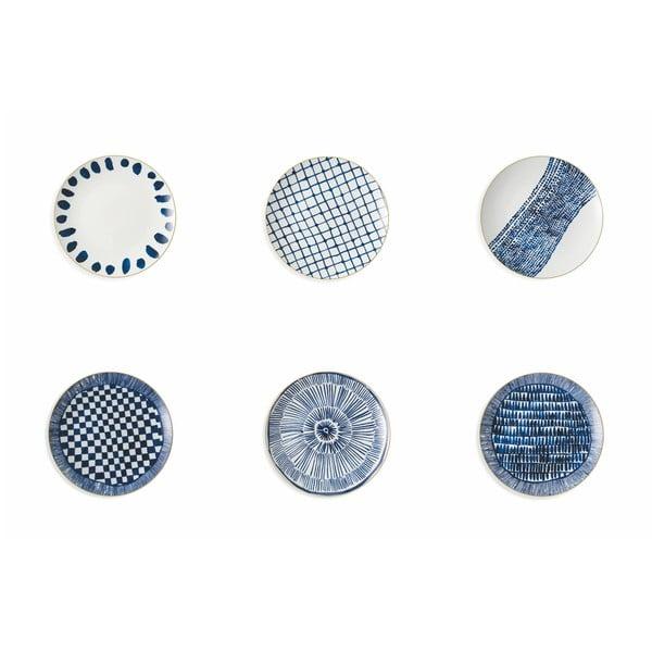 Sada 6 modrých porcelánových tanierov na ovocie v 6 rôznych štýloch Villa d'Este Masai