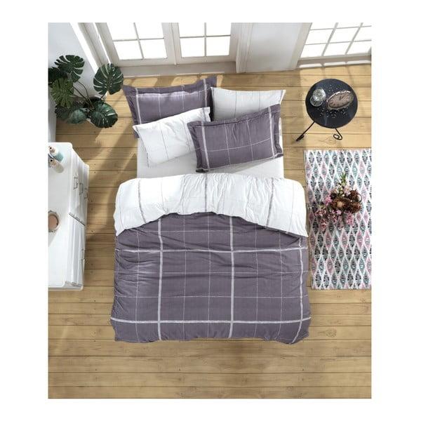 Lenjerie de pat cu cearșaf din bumbac ranforce, pentru pat dublu Mijolnir Maya White, 160 x 220 cm