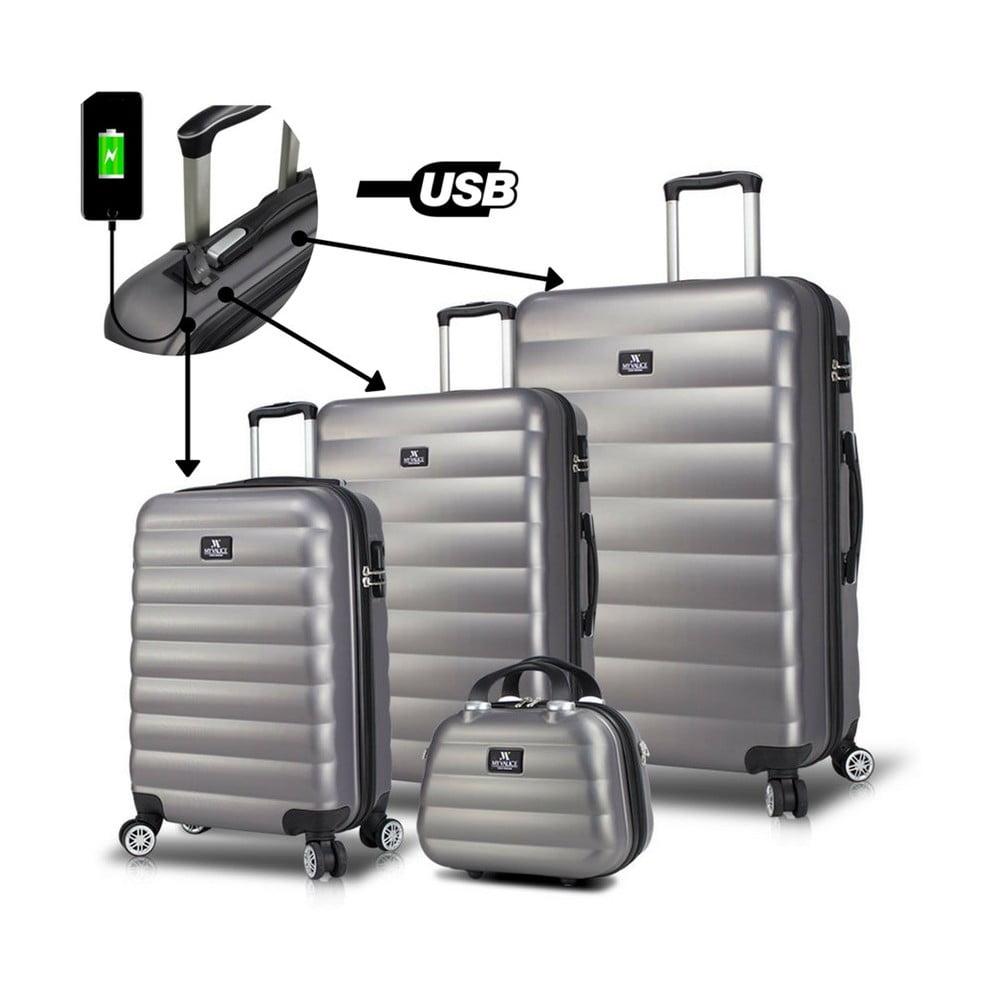 Sada 3 šedých cestovních kufrů na kolečkách s USB porty a příručního kufříku My Valice RESSO Travel