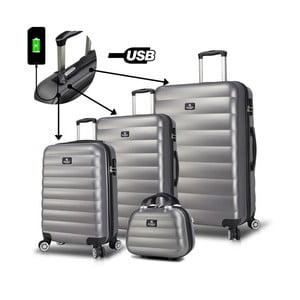 Sada 3 šedých cestovních kufrů na kolečkách s USB porty a příručního kufříku My Valice RESSO Travel Set