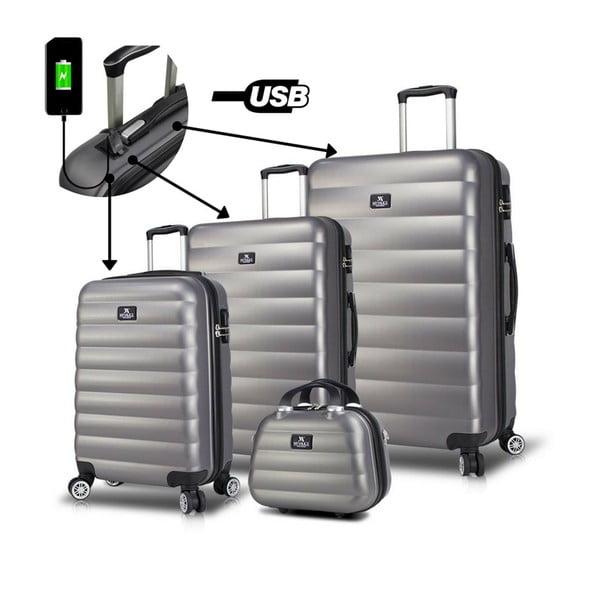 RESSO Travel Set 3 szürke görgős bőrönd és kézipoggyász szett USB csatlakozóval - My Valice