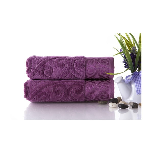 Set dvou ručníků Hanzade Plum Color, 50x90 cm
