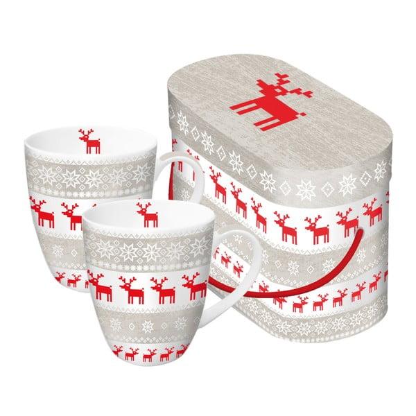 Set 2 căni din porțelan în cutie de cadou PPD Magic Christmas Taupe, 350 ml