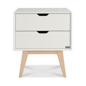 Bílý ručně vyráběný noční stolek se 2 zásuvkami z masivního březového dřeva Kiteen Kolo