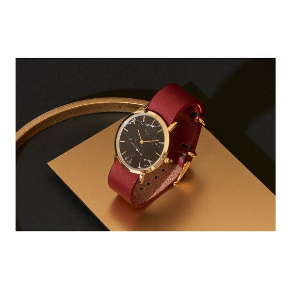 Černé mramorové hodinky s červeným řemínkem Analog Watch Co. Classic