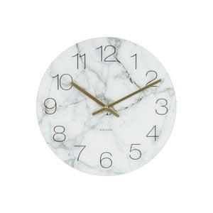 Bílé hodiny Present Time Glass Marble, ⌀ 17cm