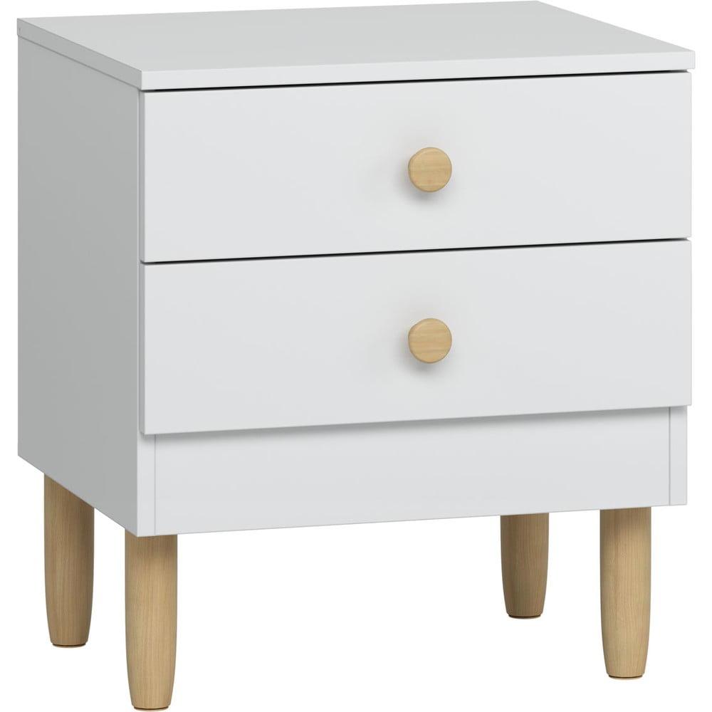 Bílý noční stolek s nohami z borovicového dřeva Vox Boca