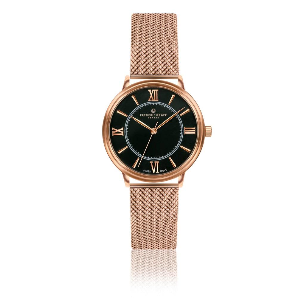 Dámské hodinky s páskem z nerezové oceli v barvě růžového zlata Frederic Graff Tess