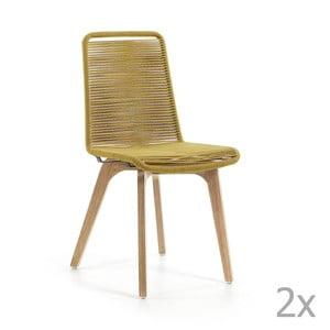 Set 2 scaune La Forma Glendon, galben muştar