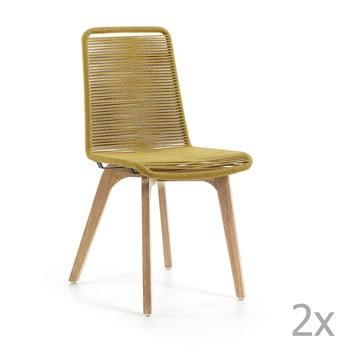Set 2 scaune La Forma Glendon, galben muştar de la La Forma