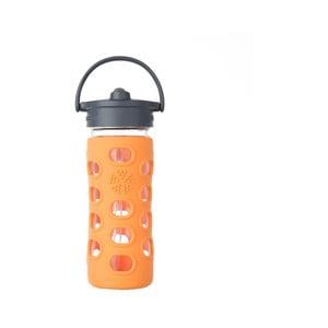 Sticlă de voiaj cu pai, din sticlă, cu protecție din silicon, Lifefactory Orange, 350 ml
