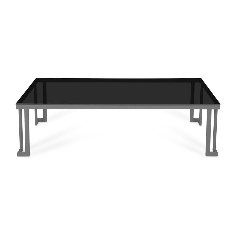 Černý skleněný venkovní stůl v šedém rámu Calme Jardin Cannes, 60 x 150 cm