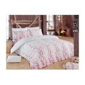 Světle růžové povlečení s příměsí bavlny na jednolůžko Coretta, 140 x 200 cm