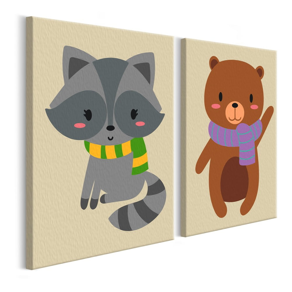 DIY set na tvorbu vlastního dvoudílného obrazu na plátně Artgeist Raccoon & Bear, 33 x 23 cm