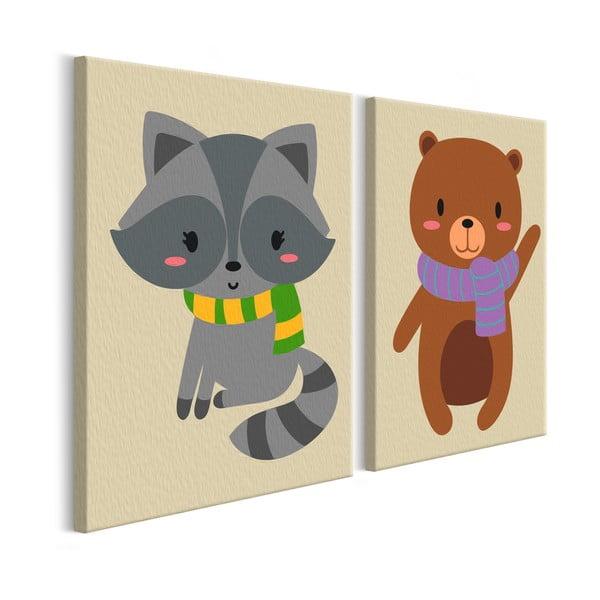 DIY set na tvorbu vlastného dvojdielneho obrazu na plátne Artgeist Raccoon & Bear, 33×23 cm