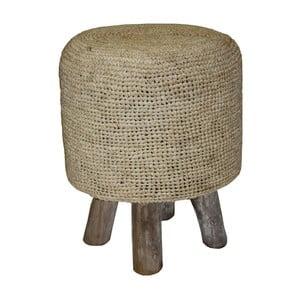 Hnědý sedací puf z teakového dřeva HSM Collection Nature