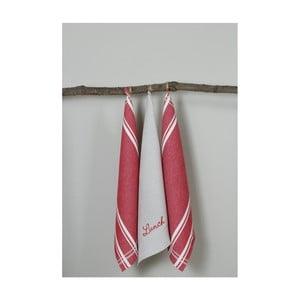Sada 3 červeno-bílých kuchyňských utěrek My Home Plus Lunch, 50 x 70 cm