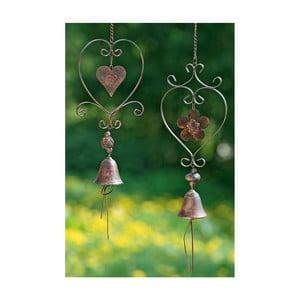Sada 2 závěsných zvonečků z kovu Boltze, délka 70 cm