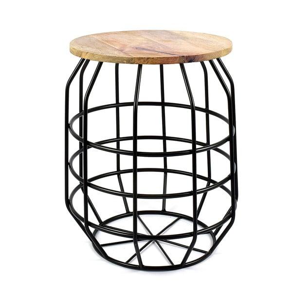 Černý stolek s deskou z mangového dřeva HF Living Peak