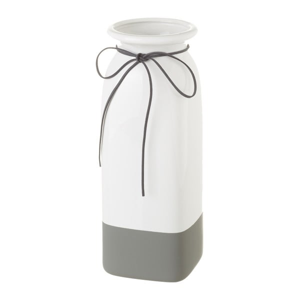 Bílo-šedá keramická váza Unimasa, 11 x 30,5 cm