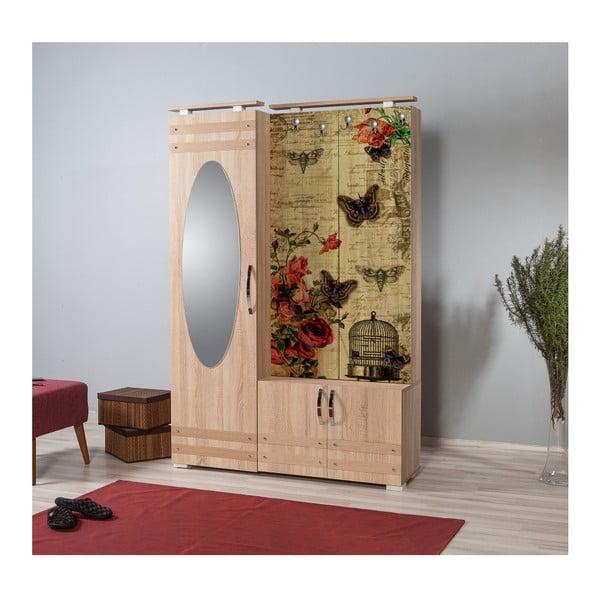 Hnědá předsíňová stěna se zrcadlem Síhirlí Butterfly, výška 195 cm