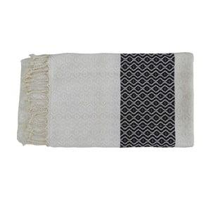 Prosop țesut manual din bumbac premium Oasa, 100 x 80 cm, negru - alb